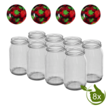 Glazenpotten 900 ml met twist-off deksel (Aardbeien) 8 stuks