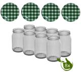 Glazenpotten 900 ml met twist-off deksel groen/wit blok design 8 stuks