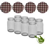 Glazenpotten 900 ml met twist-off deksel bruin/wit blok design 8 stuks
