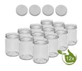 Glazenpotten 500 ml met twist-off deksel wit 12 stuks