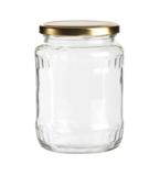 Glazenpotten 700 ml met twist-off deksel goud 8 stuks