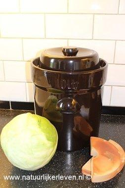 zuurkoolpot 15 liter met 2 verzwaringsstenen