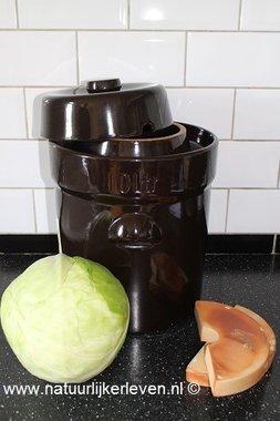 zuurkoolpot 5 liter met 2 verzwaringsstenen