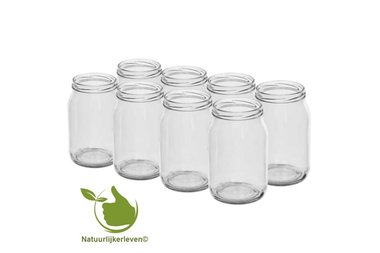 Glazenpotten 900 ml exclusief deksel verpakt per 8 stuks