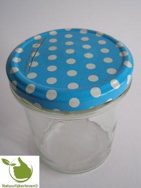 Jampotten 346 ml met twist-off deksel blauw (stippen) 6 stuks