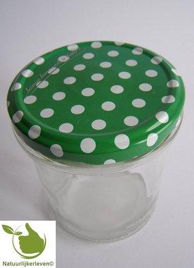 Jampotten 346 ml met twist-off deksel groen (stippen) 6 stuks