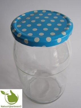 Glazenpotten 900 ml met twist-off deksel (blauw-stip) 8 stuks