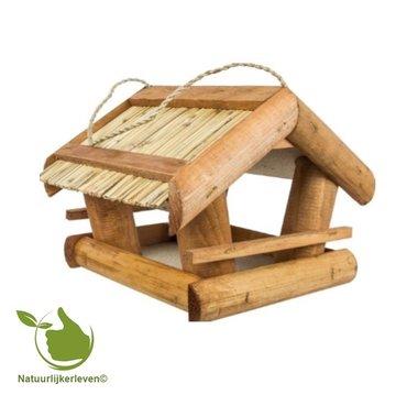 Vogel voederhuisje met riet dak