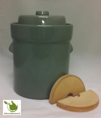 Zuurkoolpot 5 liter (Grijs/Modern) met verzwaringsstenen