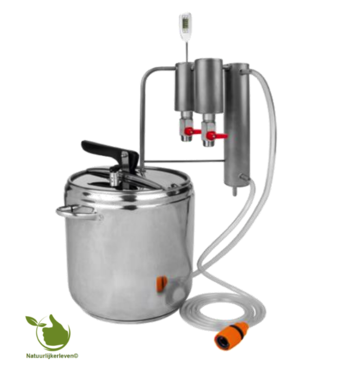 Distilleerder en snelkookpan 2in1 12L, koeler + 2x decanter