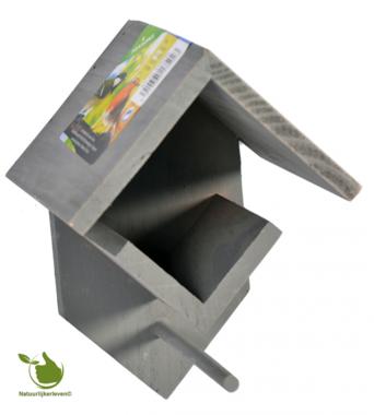 Houten pindakaas/vetpot houder Grijs 14x13x19cm