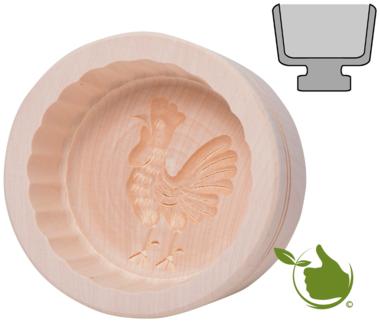 Botervorm rond voor 250 g boter - motief: Haan