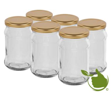 Glazenpotten 300 ml inclusief deksel verpakt per 6 stuks