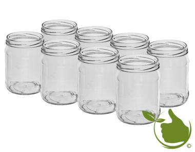 Glazenpotten 500 ml exclusief deksel verpakt per 8 stuks