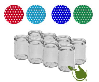 Inmaakpotten 500 ml met twist-off deksel (witte stip assorti) 8 stuks