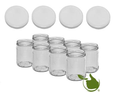 Glazenpotten 900 ml met twist-off deksel (wit) 8 stuks