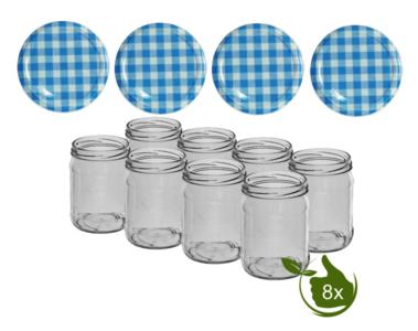 Inmaakpotten 500 ml met twist-off deksel (Blauw/Wit) 8 stuks