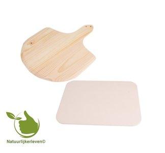 Pizzasteen 38.5 x 30.5 cm met houten schep