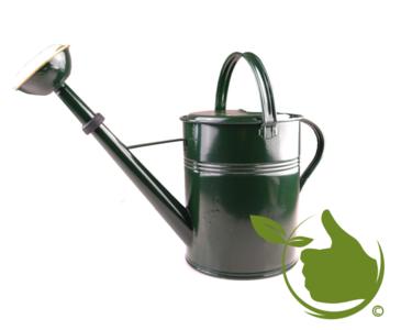 Authentieke groen gelakte gieter 9 liter met messing sproeikop