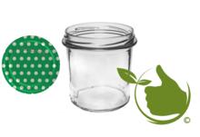 Jampot 346 ml met twist-off deksel groen (stippen-design)