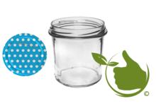 Jampot met twist-off deksel blauw (stippen design)